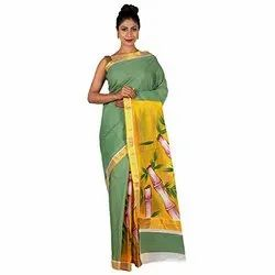 Georgette Chiffon Hand Printed Sarees, With Blouse Piece