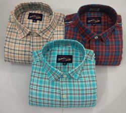 Multicolor Collar Neck Mens Check Shirts, Handwash