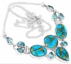 Blue Copper Turquoise with Blue Topaz Necklaces Jewelry