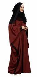 Plain Free Size Nida Abaya With Lace Work & Hijab