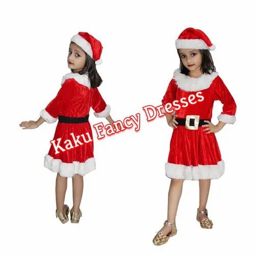 ae60bdc376ffd Red/White Silk/Polyester Kids Santa Girl Costume, Rs 350 /piece | ID ...