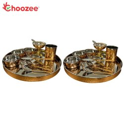 Choozee - Copper Thali Set of 2 (24 Pcs) of Thali, Bowl, Spoon,Glass, Ice-Cream Cup, Knife & Fork