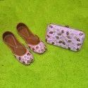 Pink Ethinic Punjabi Jutti With Matching Clutch