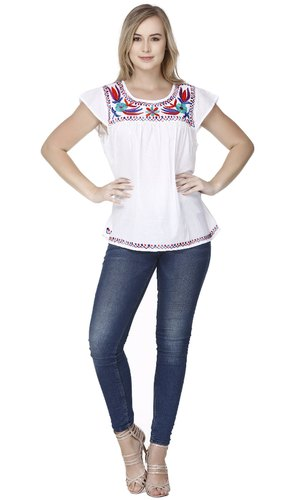 1d38af3802e Skavij Women' s Tunic Tee Short Sleeve Round Neck Cotton Blouse Top (White)
