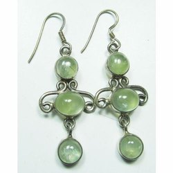 Phrenite 925 Sterling Silver Well Carved Earrings
