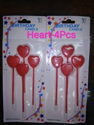 Red Heart Birthday Candle (4 Pcs Pac)