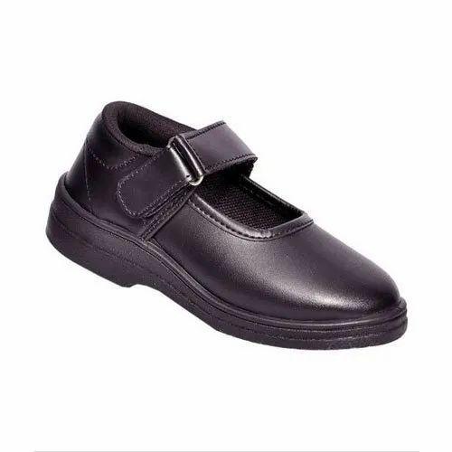 Leather Women Girls Black School Shoes
