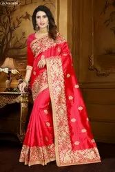 Art Silk Embroidery Work Wedding Saree, 5.5 M (separate Blouse Piece)