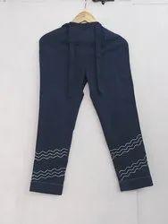 Rida Fashions Blue Ladies Cotton Pant, Waist Size: 32.0