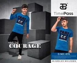 Printed Casual Wear Time Pass Boys Round Neck T Shirts