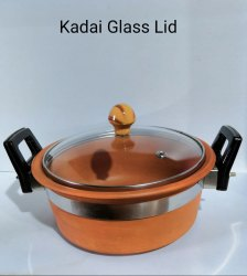 Round Red Clay Kadai Glass Lid, Capacity: 2 L