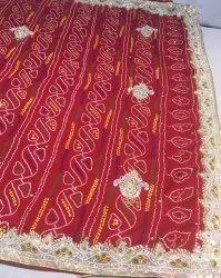 Marwari Red Georgette Chunri Handwork Saree, Size: Full Size, Hand Made