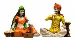 Karigaari India Handcrafted Traditions of Rajasthani Lady Making Chakki and Man Drinking Hukka Idol
