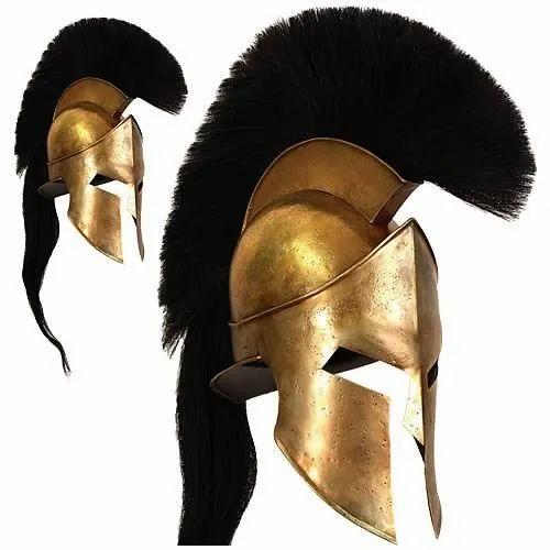 Golden Iron Leonidas Medieval Roman Greek Liner Reenactment Helmet for Decoration, Size: Medium