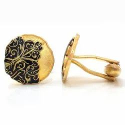 Antique Look 92.5 Sterling Silver Cufflinks Yellow Gold Black Finish