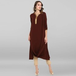 Janasya Women's Brown Poly Crepe Cowl Kurta