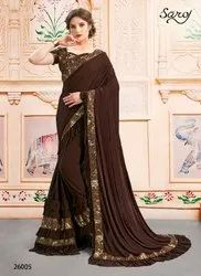 Fancy Party Brown Designer Saree