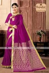 Party wear Lakadi Jacard Fancy Sarees, 6 m (with blouse piece), Packaging Type: Box, Packet