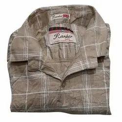 Checks Collar Neck Men Full Sleeves Check Formal Shirt, Handwash