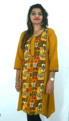 Cotton And Cotton Cambric Casual Wear Ladies Fancy Casual Kurti, Hand Wash, Machine Wash, Size: Available In S To XXXL