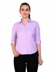 Plain Purple Women's Casual Formal Cotton 3/4 Sleeves Shirt