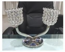 2 Arm Crystal Votive Nickel Plated Candle Stand