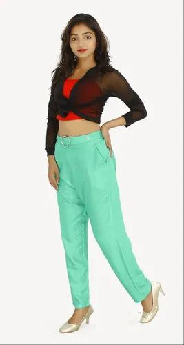 Black, Custard Green Rayon Ladies Ring Trousers