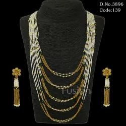 Pearl Chain Beaded 5 Line Mala Set