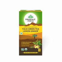 Organic India Tulsi Green Tea (Lemon Ginger) 25 Tea Bags, Packaging Type: Box