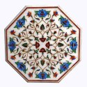 Octagonal Marble Inlay Table Top, White Marble Inlay Dining