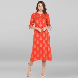 Janasya Women''s Coral Red Rayon Kurta With Pant(SET173)