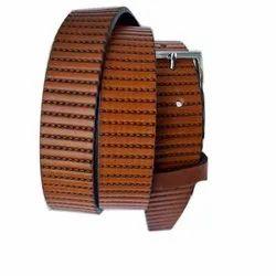 Brown Casual Wear Men''s Fashion Embossed Grain Leather Belt