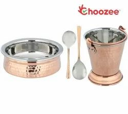 Choozee - Copper/Steel Serving Item Set of 4 Pcs (Including Bucket, Handi and Serving Spoons)