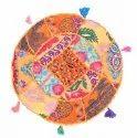Cotton Khambadiya Round Cushion Cover