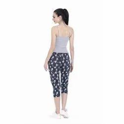 Stretchable Cotton Ladies Printed Capri