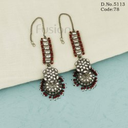 Traditional Antique Crystal Beads Earrings With Kanchain