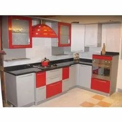 Wooden Colored Modular Kitchen With Chimney