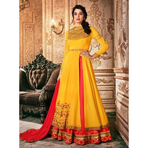 Ladies Yellow and Red Party Wear Side Cut Anarkali Suit