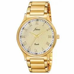 Jainx Golden Round Analog Watch For Men's - JM1136