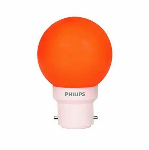 Round 0.5 W Philips B22 0.5w Orange LED Bulb Deco Mini
