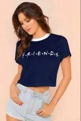 Half Sleeve Round Short Trendy T-Shirts, Size: S To XL