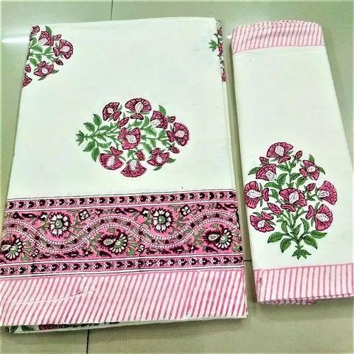 Hand Block Buti Printed Bedsheet