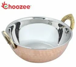 Choozee - Copper Steel Kadhai with Brass Handle (600 ml)
