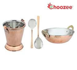 Choozee - Copper/Steel Serving Item Set of 4 Pcs (Including Kadhai, Bucket and Serving Spoons) (600M