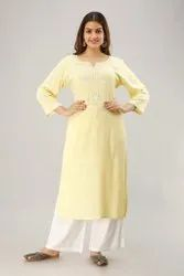 Rayon Slub Embroidered Casual Wear Ladies Kurti