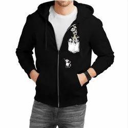 Synthetic Hooded Mens Printed Full Sleeve Hoodie