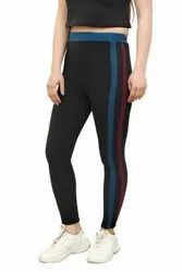 CrazeVilla Polyester Solid Black Treggings With Dual Color Stripes