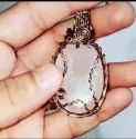 Rose Quartz Copper Wire Pendent