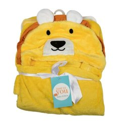 BABY BLANKET WITH HOOD YELLOW BEAR