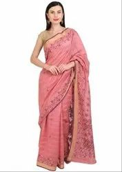 Lucknowi Chikan Work Coral Pink Saree